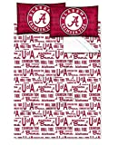 Alabama Crimson Tide - Full Size - Team Colored Anthem Sheet Set - Set Includes: (1 Full Size Flat Sheet, 1 Full Size Fitted Sheet, 2 Pillow Cases) SAVE BIG ON BUNDLING!