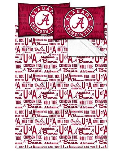 Alabama Crimson Tide - Full Size - Team Colored Anthem Sheet Set - Set Includes: (1 Full Size Flat Sheet, 1 Full Size Fitted Sheet, 2 Pillow Cases) SAVE BIG ON BUNDLING!
