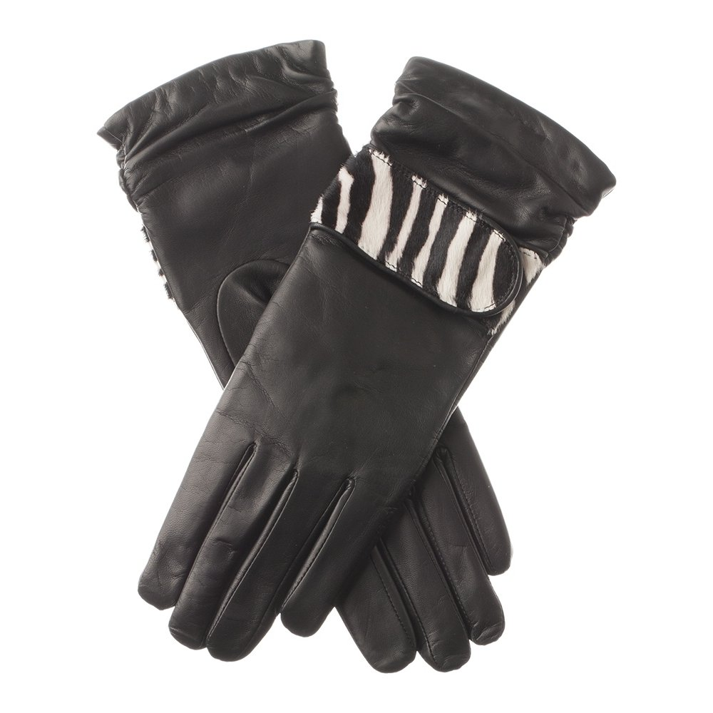Lundorf Zebra Women's Soft Luxury Leather Gloves - Wool Lined - Danish Design - Size 8 Black