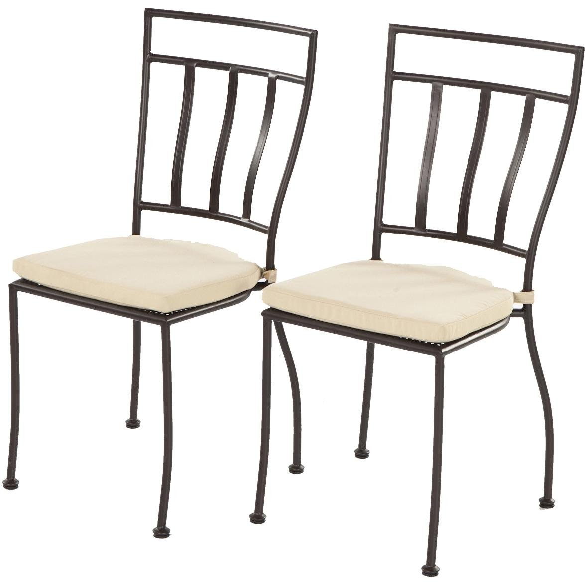 Amazon.com : Alfresco Home Semplice Wrought Iron Bistro Chairs With Natural  Cushions, Charcoal, Set Of Two : Dining Chairs : Garden U0026 Outdoor