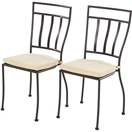 Alfresco Home Semplice Wrought Iron Bistro Chair With Cushion, Charcoal  Finish
