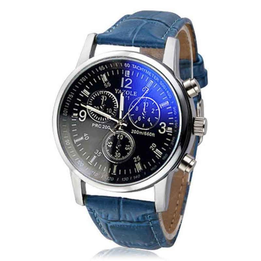 Hemlock Men's Round Blue Ray 3 Eyes Watch Crocodile Band Silver Watches