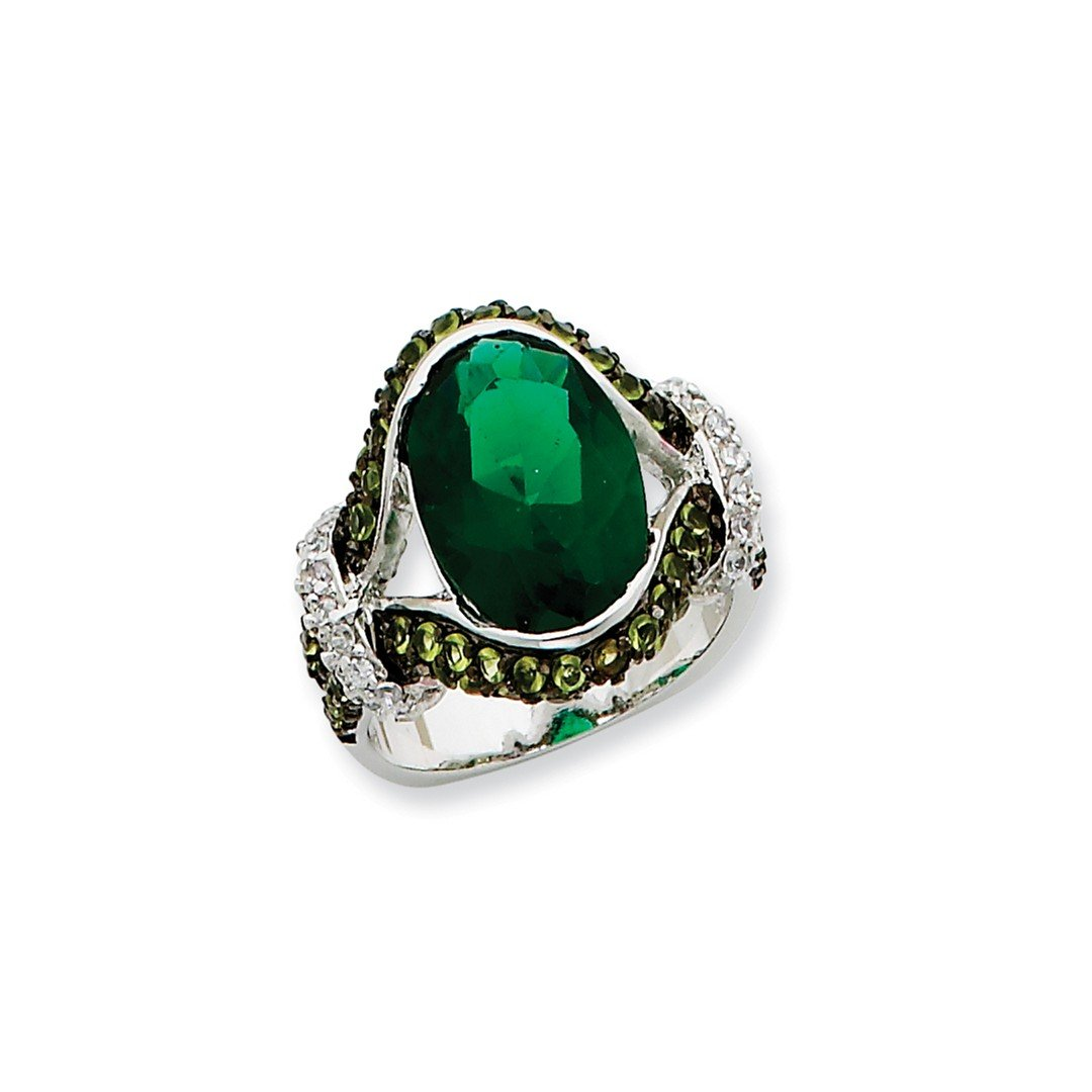 ICE CARATS 925 Sterling Silver Green Glass Clear Cubic Zirconia Cz Band Ring Size 8.00 Fine Jewelry Ideal Gifts For Women Gift Set From Heart