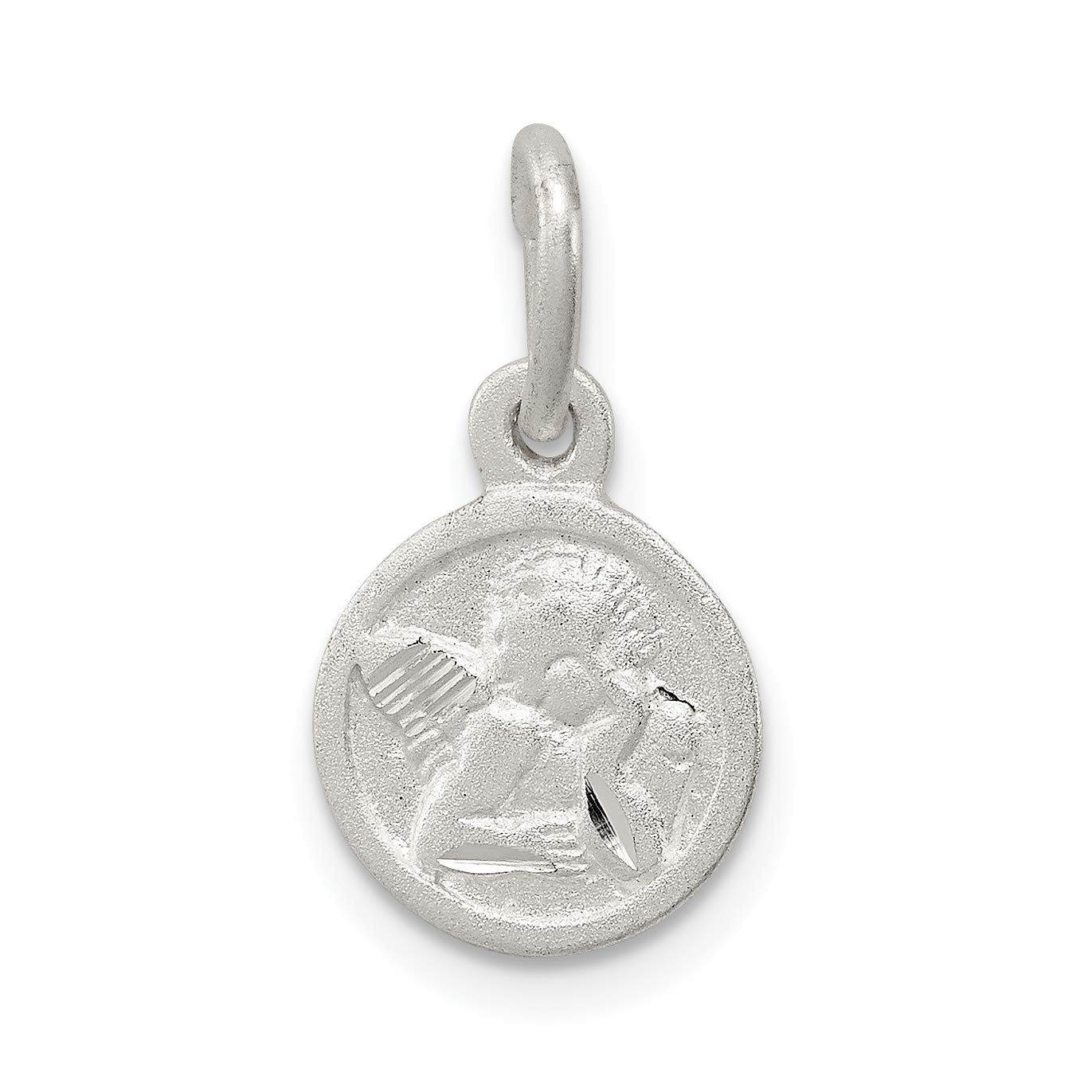 Cherub Angel Round Disc Shaped Charm in 925 Sterling Silver 19x10mm