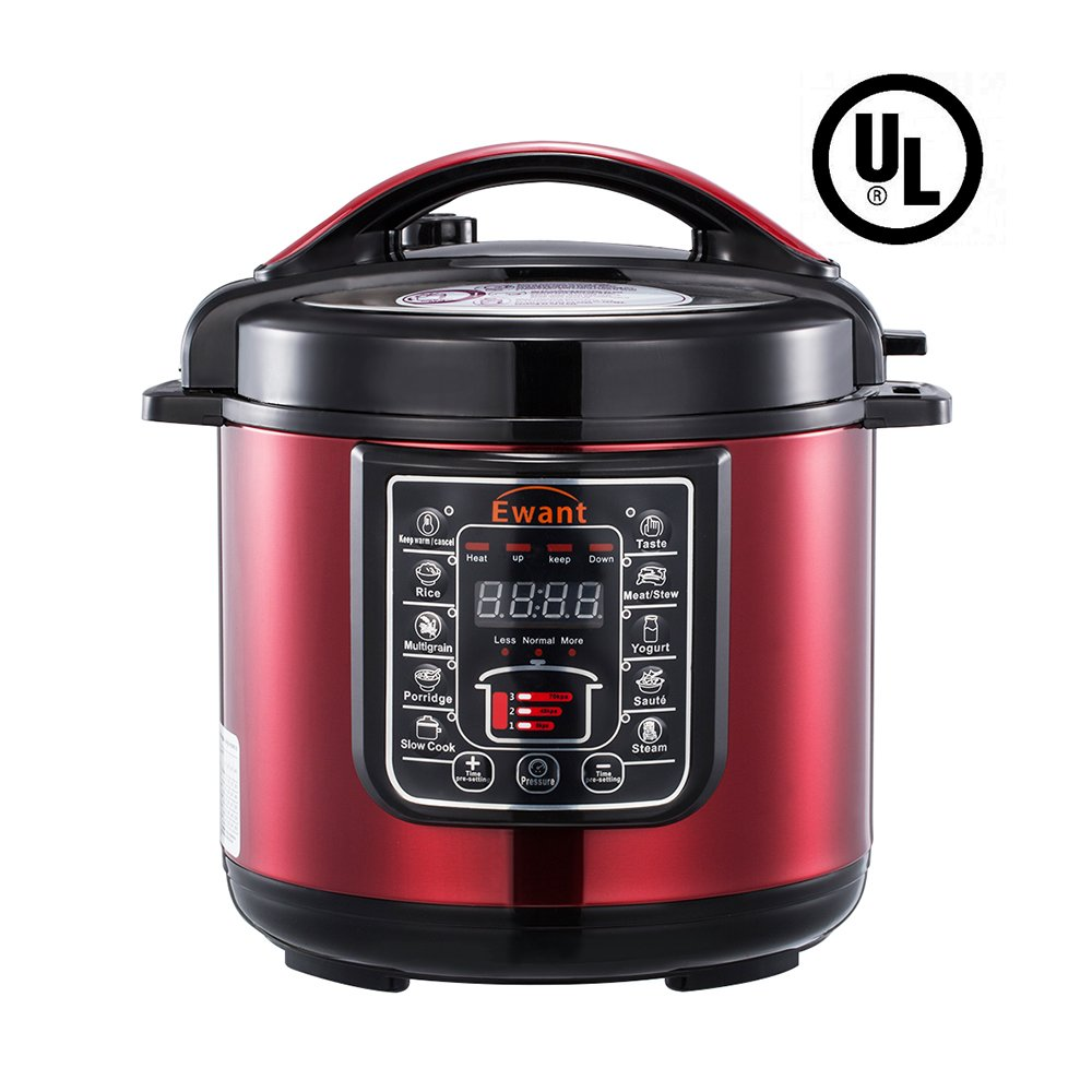 Ewant 9-in-1 Multi-functional Electric Pressure Cooker, Pressure Cooker, Slower Cooker, Digital Stainless Steel Pressure Cooker, Rice Cooker, 6 Quart/1000W, Red