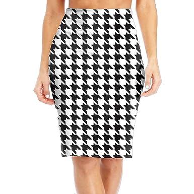 278c593a592 Amazon.com  CAWHJDW Houndstooth Blackwhite Womens High Waist Bodycon Midi  Pencil Skirt Slimming Slim Office Skirt  Clothing