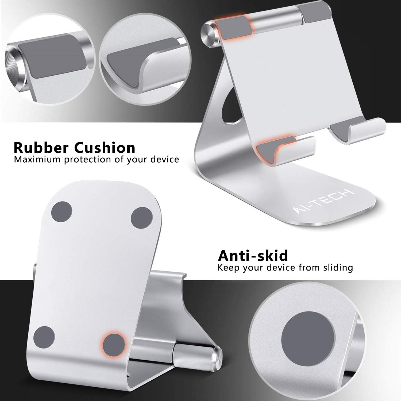 Silver AiTech Supporto Tablet Supporto Regolabile Stand Dock Universale Samsung Tab Pad PRO 10.5 PRO 9.7 PRO 12.9 Pad Mini 2 3 4 Pad Air Air 2 Phone