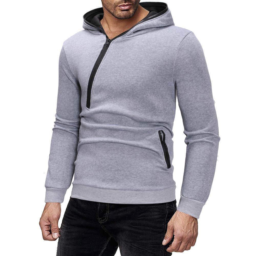 Sport Hoodies Fashion Casual Black Gray Khaki Green Sweatshirt Long Sleeves Tops Medium XXLarge TAGGMY Pullover for Men