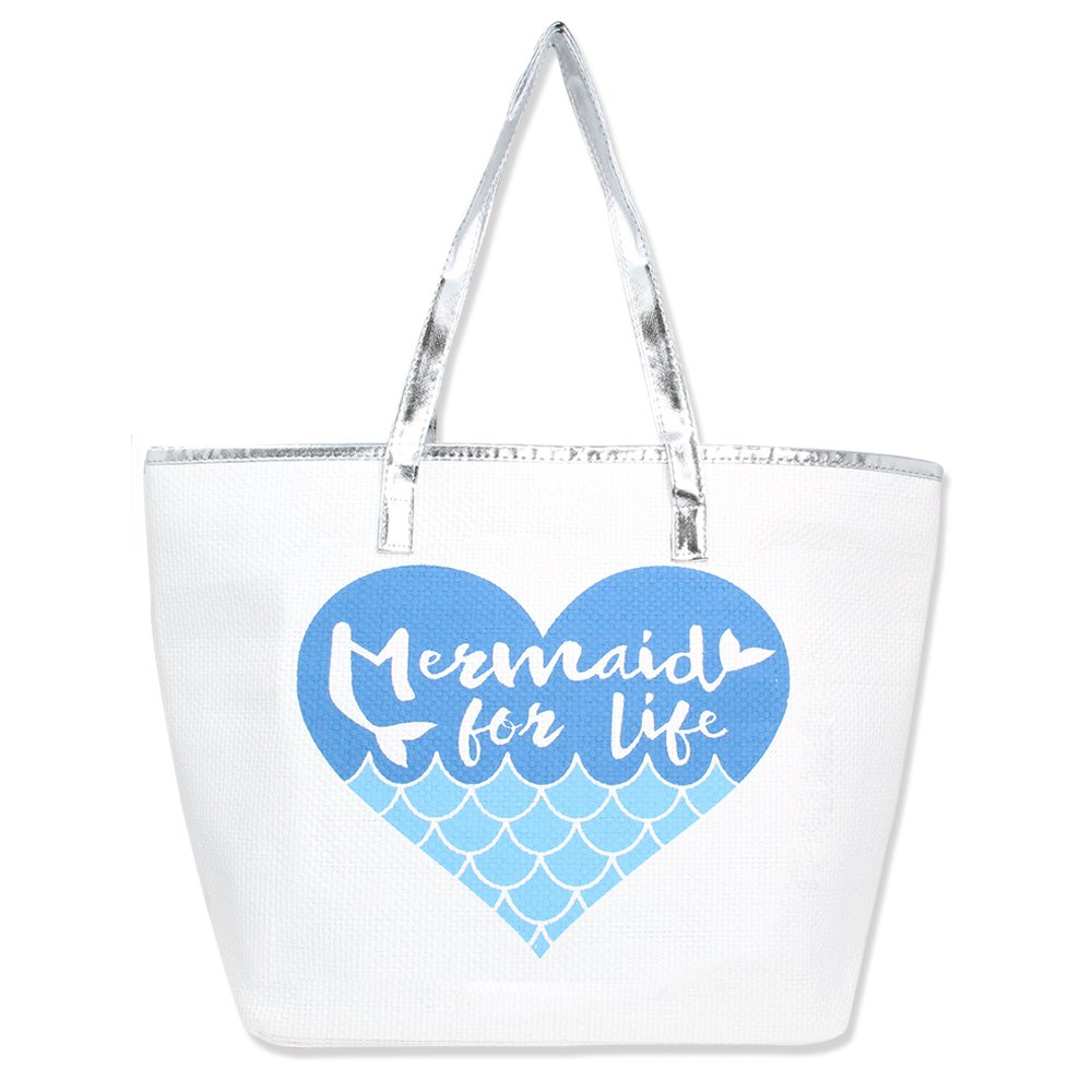 Metallic Trim Large Zipper Top Summer Themed Beach Bag Tote (Mermaid for Life - Turquoise)