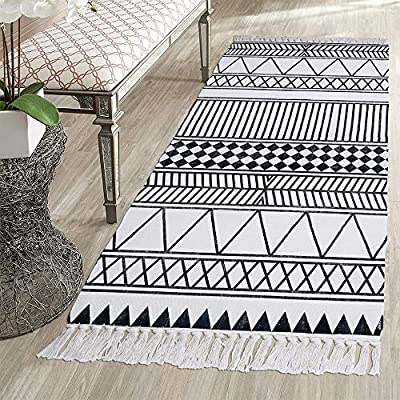 HEBE Cotton Rug Runner 2.3'x6', Boho Rug for Bedroom, Hand Woven Cotton Fringe Tassel Area Rug for Kitchen Laundry… - Area Rug Runner Size: Package includes 1 PCS cotton woven tassels runner rug. Cotton runner rug measure size at 2.3 x 6 ft/70*180cm.The size is perfectly suitable for kitchen floor,laundry room,living room,entrance way,doormat or any room you like. Accent Cotton Rug: Woven cotton throw rugs runner well made by Natural Cotton.Cotton material makes excellent water absorption.It's safe for the environment, give soft and breathable touch when people walk on them. Printed Bohemian Cotton Rug Runner: Cotton throw rug designed with geometric patterns and extra snazzy knotted tassels on each side which make them seem chic.Cotton area rug color is black and white that will make it never go out of style and long time stay on the floor. - runner-rugs, entryway-furniture-decor, entryway-laundry-room - 61QwsT0ijsL. SS400  -