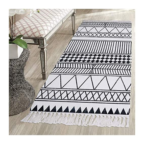 HEBE Cotton Rug Runner 2.3'x6' Washable Woven Tassel Black and White Rugs Cotton Throw Rugs Floor Carpet Mat Bohemian Rug for Living Room Kitchen Laundry - Area Rug Runner Size: Package includes 1 PCS cotton woven tassels runner rug. Cotton runner rug measure size at 2.3 x 6 ft/70*180cm.The size is perfectly suitable for kitchen floor,laundry room,living room,entrance way,doormat or any room you like. Accent Cotton Rug: Woven cotton throw rugs runner well made by Natural Cotton.Cotton material makes excellent water absorption.It's safe for the environment, give soft and breathable touch when people walk on them. Printed Bohemian Cotton Rug Runner: Cotton throw rug designed with geometric patterns and extra snazzy knotted tassels on each side which make them seem chic.Cotton area rug color is black and white that will make it never go out of style and long time stay on the floor. - runner-rugs, entryway-furniture-decor, entryway-laundry-room - 61QwsT0ijsL. SS570  -