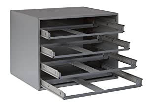 """Durham 307-95 Gray Cold Rolled Steel Easy Glide Slide Rack for 4 Small Metal Compartment Boxes, 15-1/4"""" Width x 11-1/4"""" Height x 11-3/4"""" Depth"""