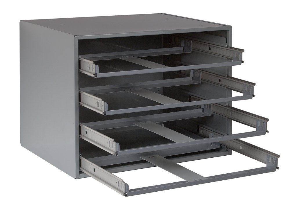 Durham 307-95 Gray Cold Rolled Steel Easy Glide Slide Rack for 4 Small Metal Compartment Boxes, 15-1/4'' Width x 11-1/4'' Height x 11-3/4'' Depth