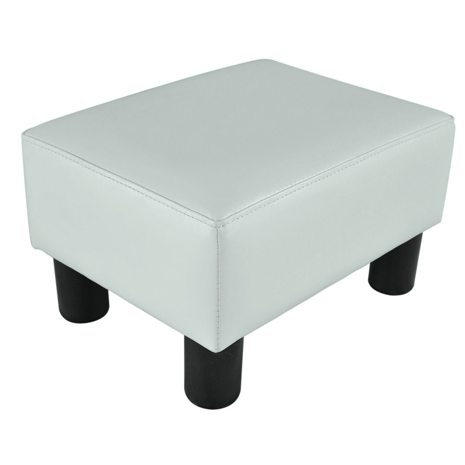 "HOMCOM Modern 15"" Rectangular Faux Leather Ottoman Footrest - Bright White"