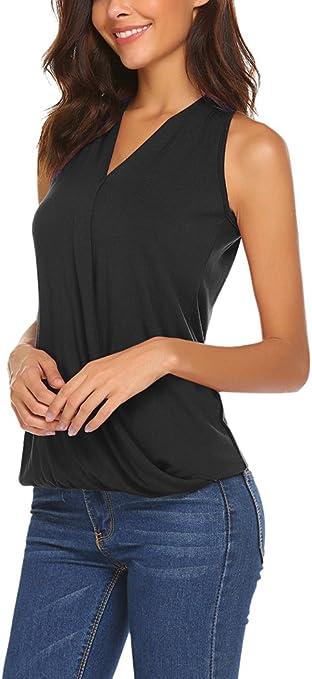 Yesfashion Womens Sleeveless V-Neck Drape Wrap Elastic Hem Tank Top