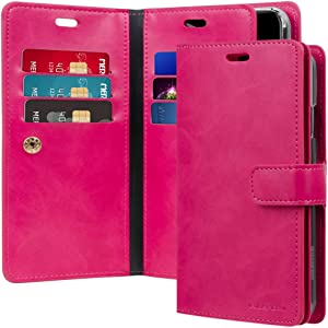 GOOSPERY Mansoor Wallet for Apple iPhone XR Case (2018) Double Sided Card Holder Flip Cover (Hot Pink) IPXR-Man-HPNK
