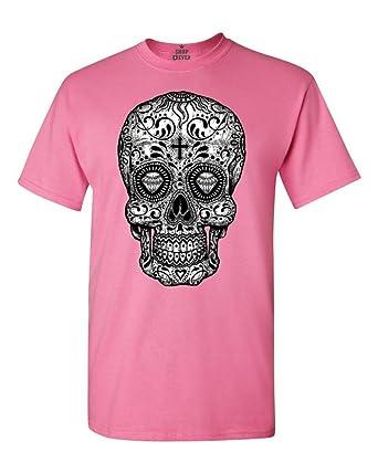 Amazon.com: Shop4Ever Skull Black & White T-Shirt Day Of The Dead ...