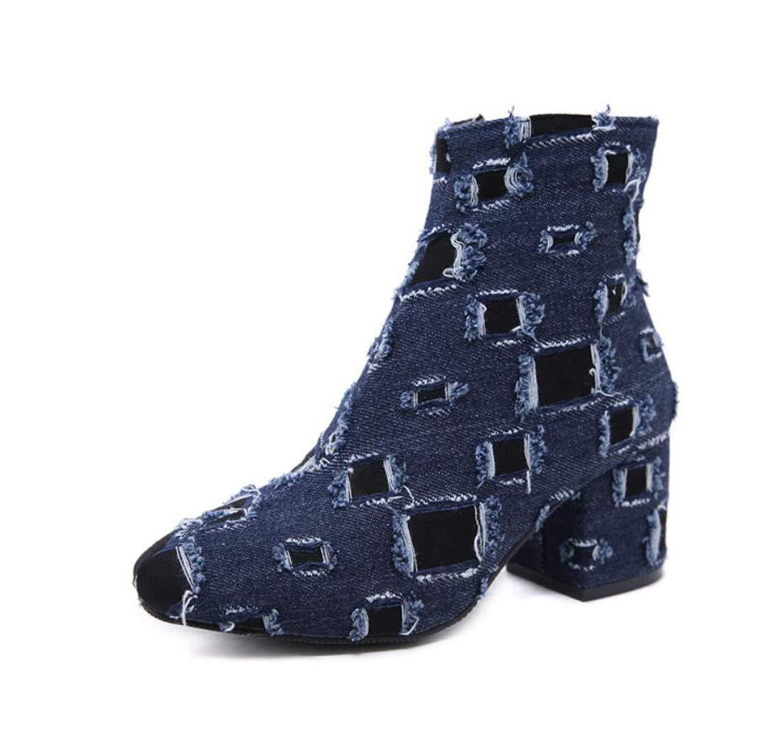 DANDANJIE Damen Schuhe Bare Stiefel Herbst Winter Cowboy Zipper High Heel Stiefeletten