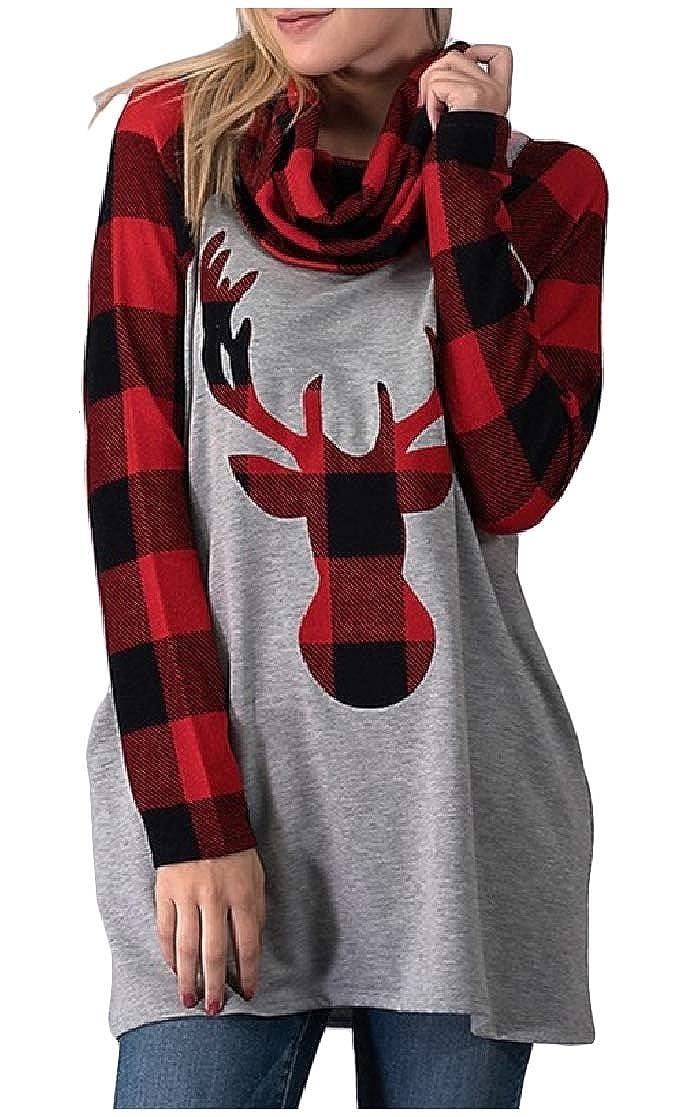YUNY Women Long Sleeve Plaid Christmas Front Deer Printed Casual Sweatshirts AS1 M