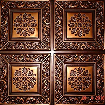 203 faux tin ceiling tile glue up 24x24 antique copper - Faux Tin Ceiling Tiles