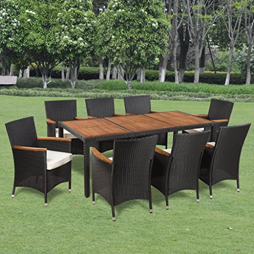 Anself Rattan Garden Outdoor Dining Set with 8 Chairs and Wooden Top Table