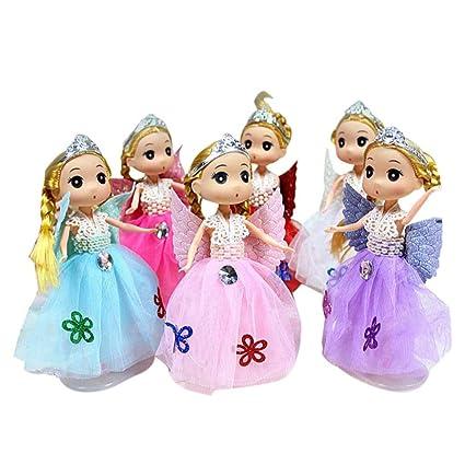 AmaMary colgante de llave de muñeca, princesa Barbie kawaii bailando muñecas colgante rey anillo juguete