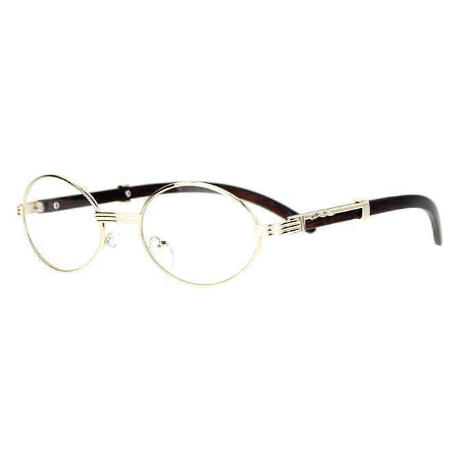 90e72e80904 Clear Lens Eyeglasses Unisex Vintage Fashion Oval Frame Glasses Light Gold