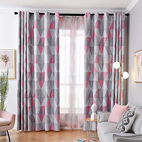 Pink Grey Blackout Curtain Grommet Drape
