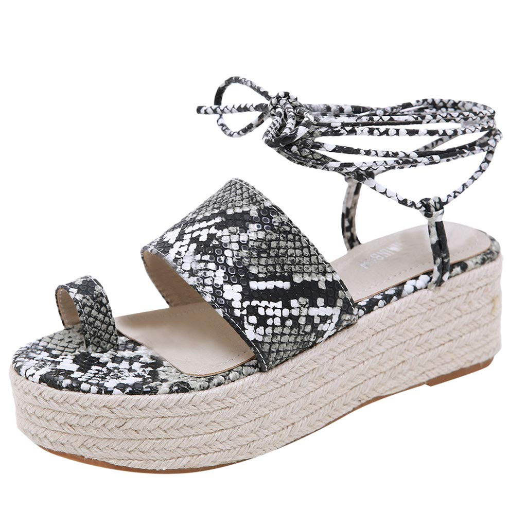 2019 Sharemen Casual Sandals Roman Shoes Straps Wedge Shoes Leopard Toe Thick Platform Women's Shoes(Black,US: 5)