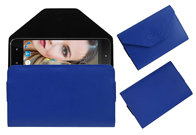 Acm Flip Flap Pouch Case for Swipe Elite X Mobile Leather Cover Blue Tablet Accessories