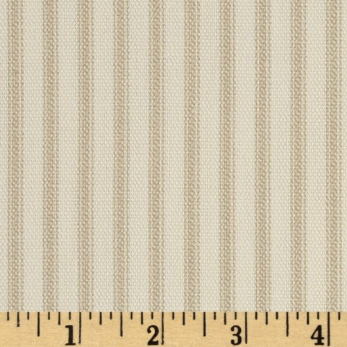 (Santee Print Works Vertical Ticking Stripe Ivory/Tan Fabric by The Yard,)