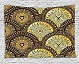 Gold Mandala Tapestry, India Culture Motifs Lapping Over Romantic Medallion Like Wavy Pattern, Wall Hanging for Bedroom Living Room Dorm, 80 W X 60 L Inches, Gold and Brown