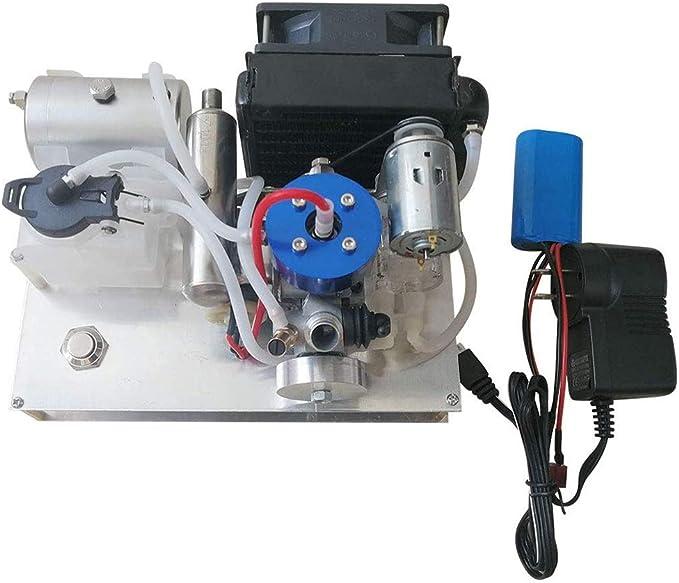 UIGJIOG DIY Nivel 15 Modelo de Motor de Gasolina Toyan, generador Micro 12V Conjunto con radiador refrigerado por Agua para automóvil y Modelo de Barco