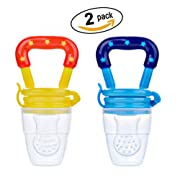 Set of 2 pcs Baby Fresh Food and Fruit Feeder Pacifier Nibbler BPA free, S and M Size, Colors Can be Pointed