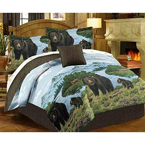 Rustic Cabin Lodge BLACK BEAR & CUBS 6pc Comforter Set w/Sheets (Bed In A Bag) (TWIN (Twin Sheet Set Rustic Cabin)