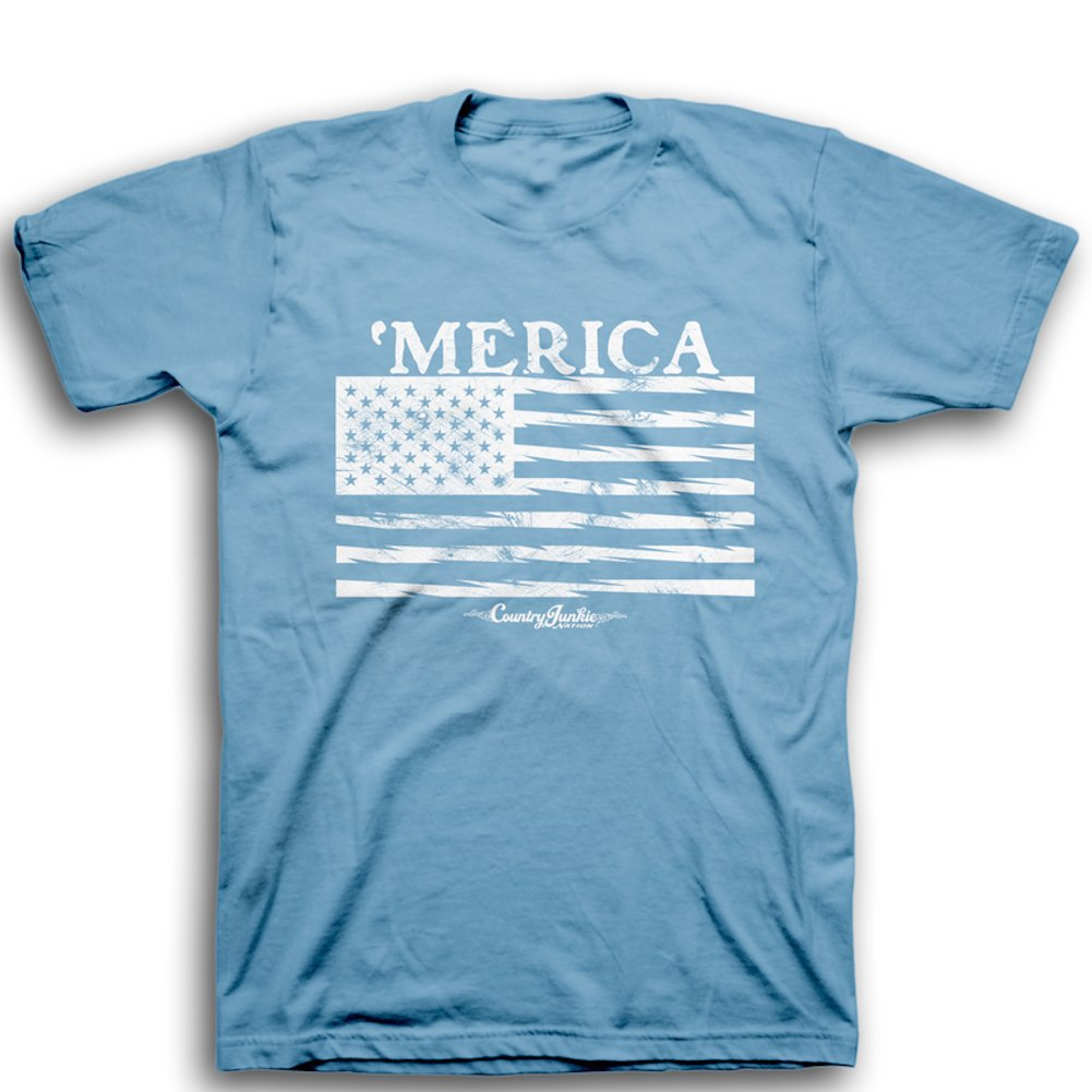 Country Junkie Nation Merica American Flag T Shirt Steel Blue