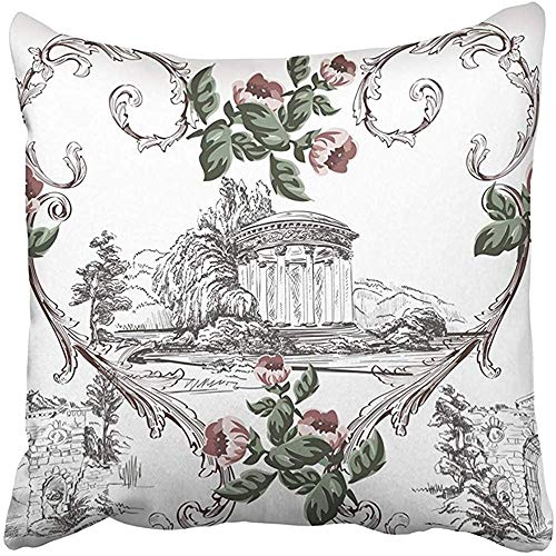CdVeK9ca Throw Pillow Cover Square 18x18 Inches Black Arch Vintage Pattern in Toile De Jouy Style Small Flowers Baroque Swirls on White Polyester Decor Hidden Zipper Print On Pillowcases