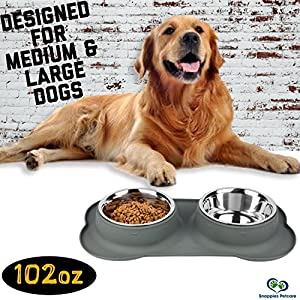 Large Dog Bowl Mat - Two Big 51oz (102oz total) Removable Stainless Steel Bowls Set in a Stylish Grey No Mess, No Spill, Non Skid, Silicone Mat. Food & Water Bowl for Medium to Large Dog Grey