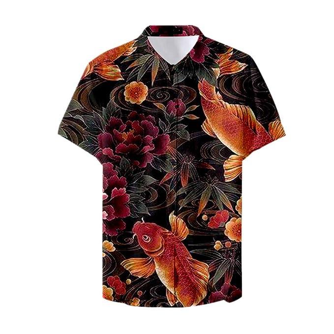 Fansu 3D Camisa Hawaiana para Hombre, Fiesta Tropical de Manga ...