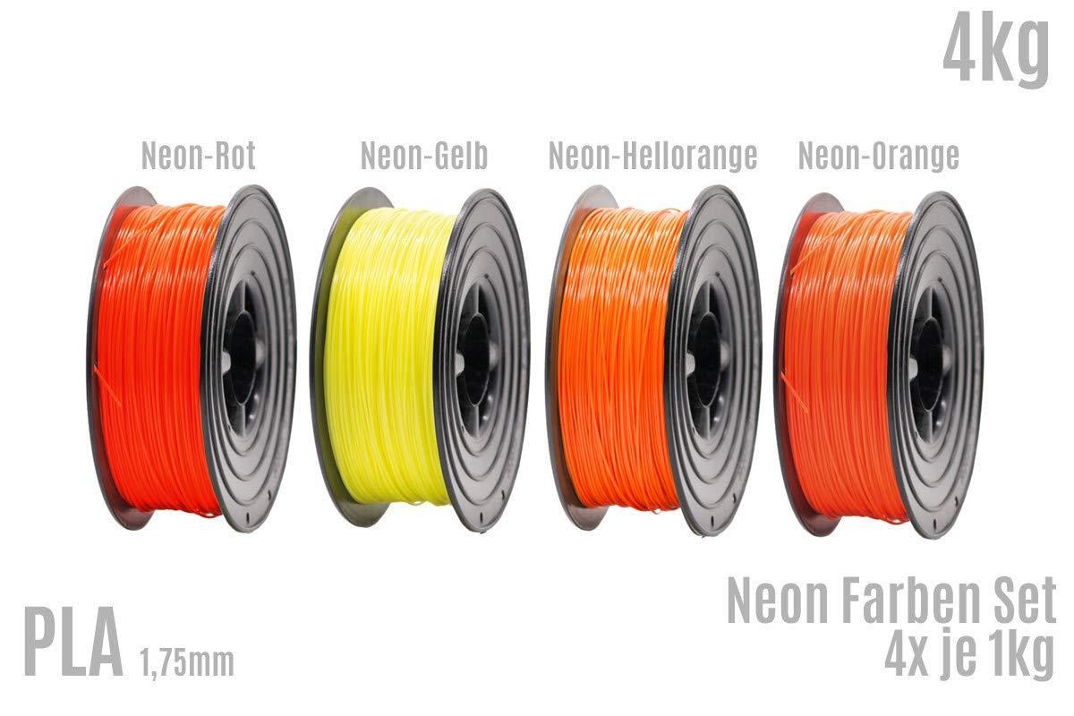 Filamento PLA para impresora 3D, 1,75 mm, 4 x 1 kg, rollo de neón ...
