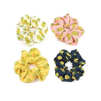 Fruit Print Scrunchies Hair Rope Elastic Hair Rubber Band Stretch Hair Ring Girl