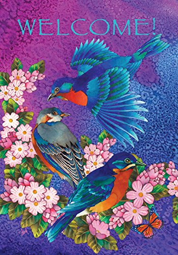 Toland Home Garden Bluebird Blossoms 28 x 40 Inch Decorative Colorful Blue Bird Spring Summer Flower Welcome House ()