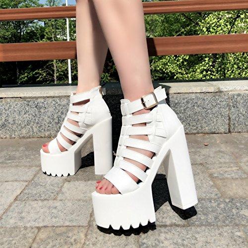 super blanco tacones de super con centímetros 3133 Sandalias 15 XiaoGao y tacones 11 7841wxq