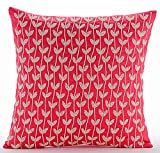 "Luxury Coral Pink Pillow Shams, Prairie Leaf Beaded Pillow Shams, 24""x24"" Pillow Sham, Square Cotton Linen Shams, Art Deco Pillow Shams - White Prairies"