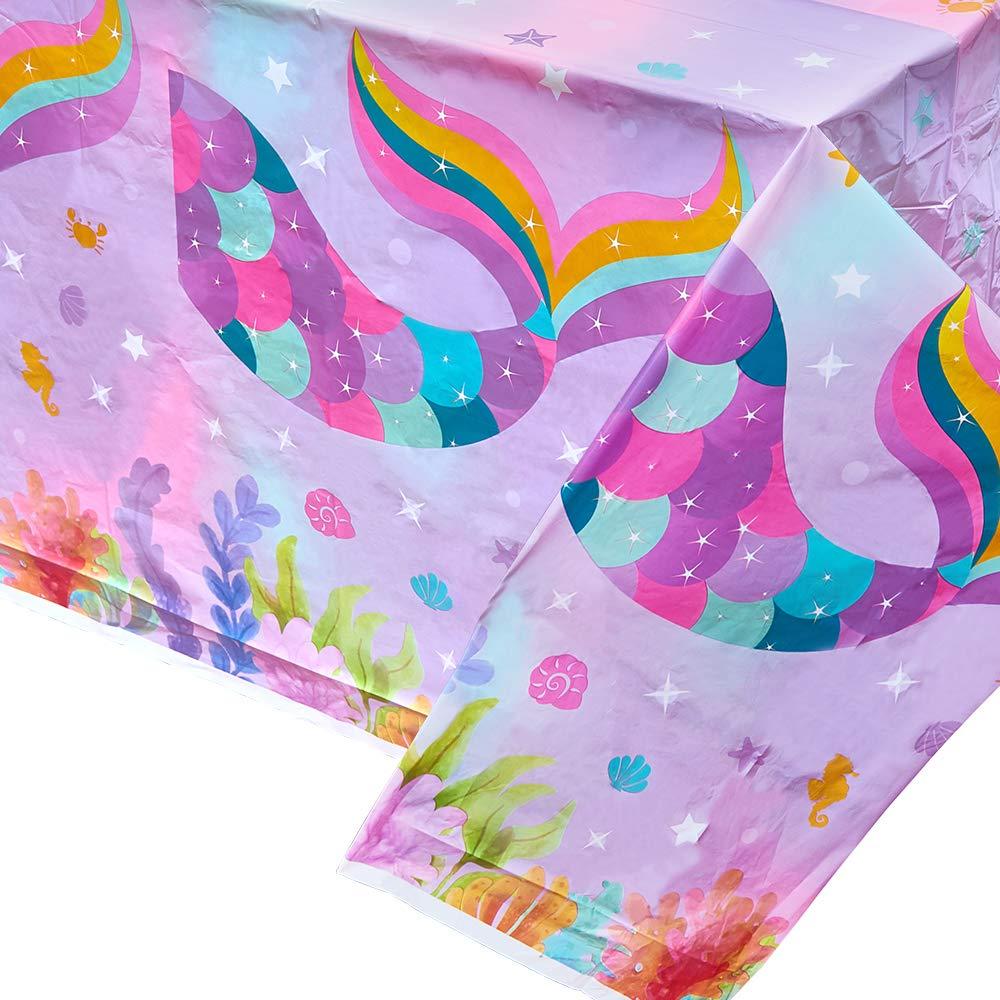 2 Pezzi Tovaglia di Plastica Stampata Monouso WERNNSAI Tovaglie Sirena Articoli per Feste per Bambini Ragazze Compleanno Nozze Baby Shower Decorazione per Feste a Tema Sirena