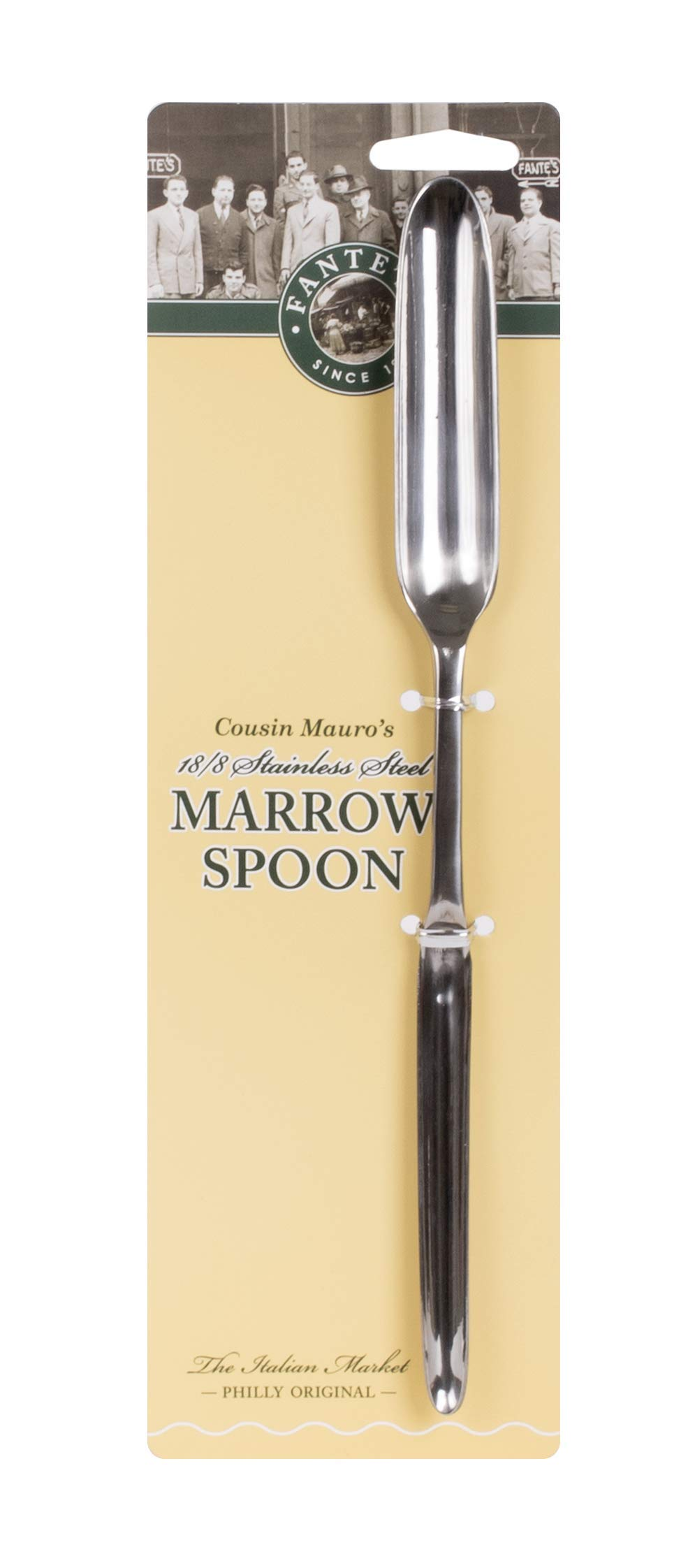 Fante's Dual-Sided Marrow Spoon, Ideal for Both Narrow and Big Bones, The Italian Market Original since 1906, 9.75 x 75-inches, Japanese 18/8 Stainless Steel