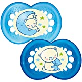 MAM Night Glow in The Dark Soother Suitable 6 Months with Sterilisable Travel Case - Pack of 2, Blue (Designs May Vary)