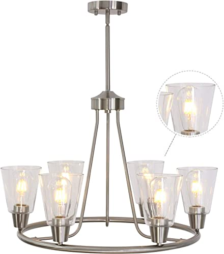 BONLICHT 6 Lights Round Chandelier Brushed Nickel Kitchen Island Farmhouse Dining Room Lighting Modern Light Fixtures Hanging Clear Glass Shades Pendant Lighting UL Listed