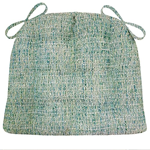 Boucle Weave (Dining Chair Pads with Ties - Brisbane Boucle Sea Glass - Latex Foam Fill, Reversible, Tufted - Machine Washable)