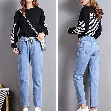Ysdsbm Jeans De Moda Con Cordon Para Mujer Pantalones Vaqueros Sueltos De Cintura Alta Pantalones Vaqueros Sueltos Lavados Hasta El Tobillo Pantalones De Mezclilla Amazon Es Hogar